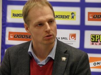 Linköpings Magnus Hävelid på presskonferensen efter FBK-LHC  Foto: Marie Angle/fbkbloggen