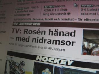 En rubrik som antyder att Rosén (tväremot vad han faktiskt gör) ska svara emot sina belackare. Foto: Marie Angle.Källa:http://www.aftonbladet.se/sportbladet/hockey/