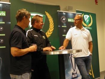 """""""Kulon"""", """"Leffe"""" och Rundqvist på pressträffen inför ET som föregick träningen. Mer om den i separat inlägg, Foto; Marie Angle/fbkbloggen"""