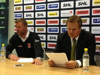 Patrik Ross och Leif Carlsson på presskonferensen efter seriepremiären 14/9 2013 Foto: Marie Angle/fbkbloggen