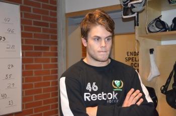 Åberg i omklädningsrummet efter vinsten mot AIK. Foto: Robin Angle/fbkbloggen