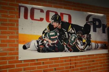 Vad vore hockeyn utan tacklingar? En klassisk bild av Fröggas dubbeltackling hänger på väggen i LA. Foto: Robin Angle/fbkbloggen