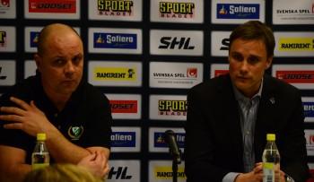 Inte särskilt muntra miner från vare sig Clas Eriksson eller Roger Rönnberg på presskonferensen efter matchen. Foto: Robin Angle/fbkbloggen