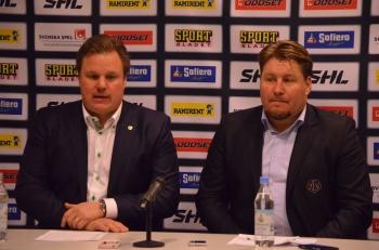 Leif Carlsson och Andreas Appelgren på presskonferensen efter matchen 11/1 2013 Foto: Robin Angle/fbkbloggen