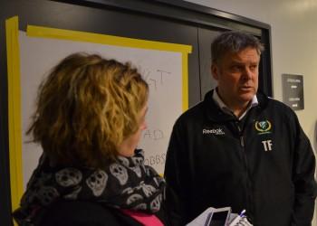 Tränare Thomas Fröberg är inte nöjd efter onsdagens förlust, men konstaterar att laget kan mycket bättre än så! Foto: Robin Angle/fbkbloggen