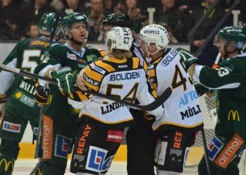 Heta känslor på isen... Precis som det ska vara! Kapten Tollefsen visar vägen, understödd av målskytten Martin Röymark. Foto: Robin Angle/fbkbloggen