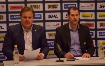 Leif Carlsson och Jan Larsson på presskonferensen efter matchen. Foto: Robin Angle/fbkbloggen