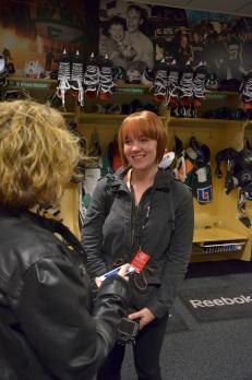 Sara Björk i Färjestads omklädningsrum strax efter matchen Foto: Robin Angle/fbkbloggen